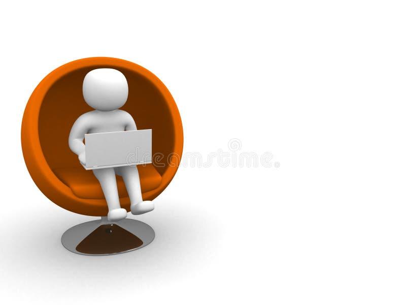 Person 3d mit dem Laptop, der auf Sofa sitzt lizenzfreies stockbild