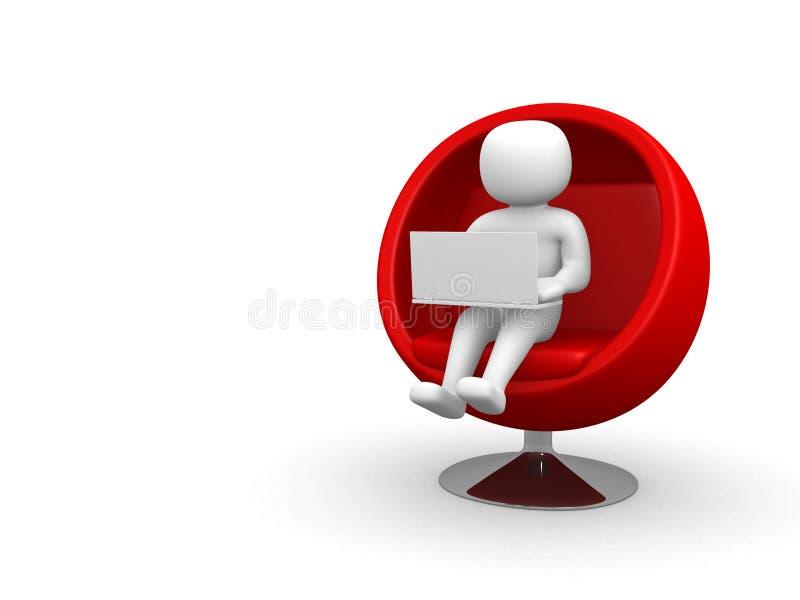 Person 3d mit dem Laptop, der auf Sofa sitzt lizenzfreie stockfotografie