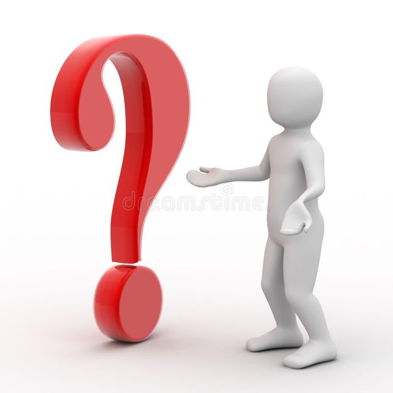 Person 3d und Fragezeichen stock abbildung