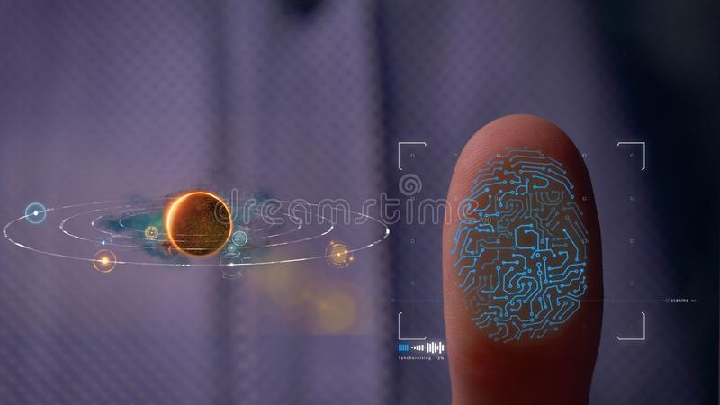 Person accessing a hologram with a fingerprint. Man, access to a modern hologram of a personal database with the discovery of fing royalty free stock photos