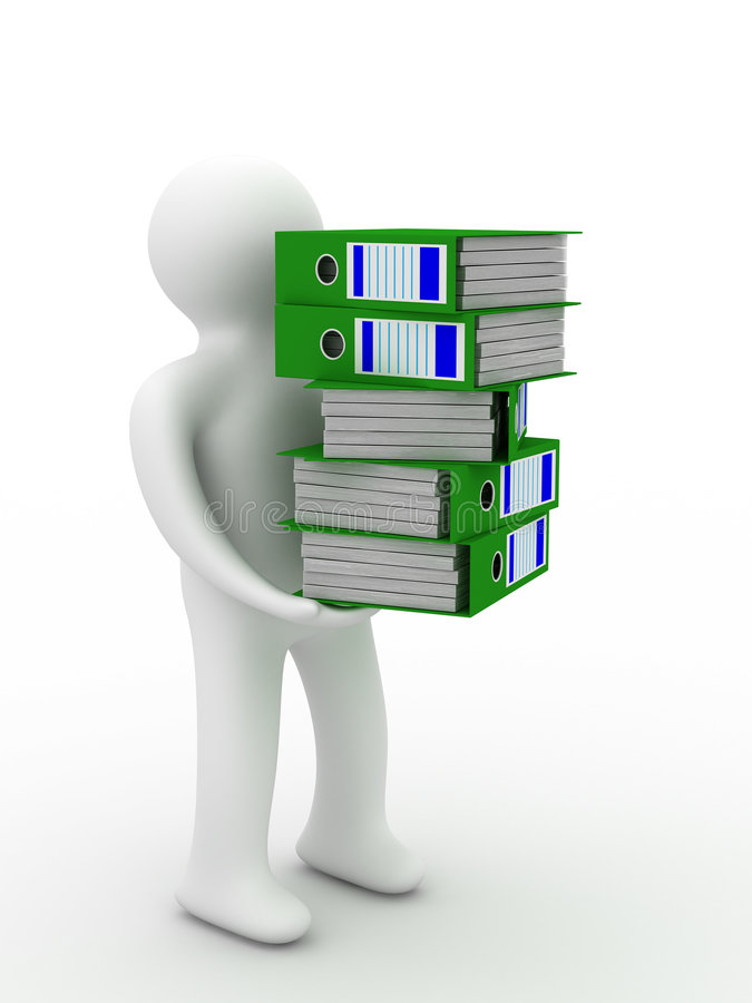 Person with accounting folders. Isolated 3D image stock illustration