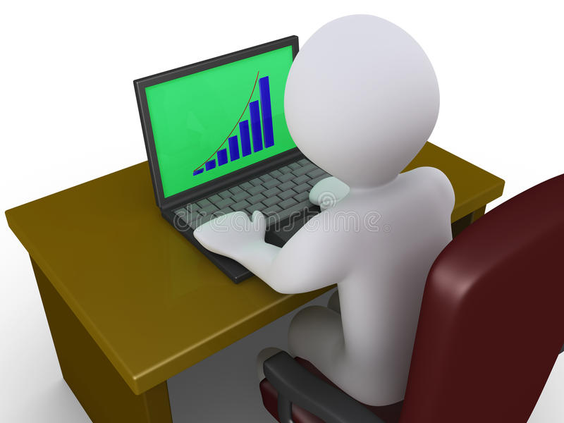 Download Person Analyzing Chart On A Laptop Stock Illustration - Illustration of illustration, green: 31071391