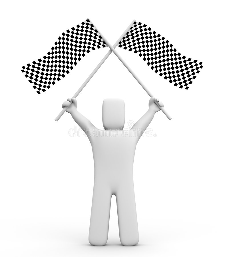 Free Person And Two Checker Flags Stock Photography - 4205122