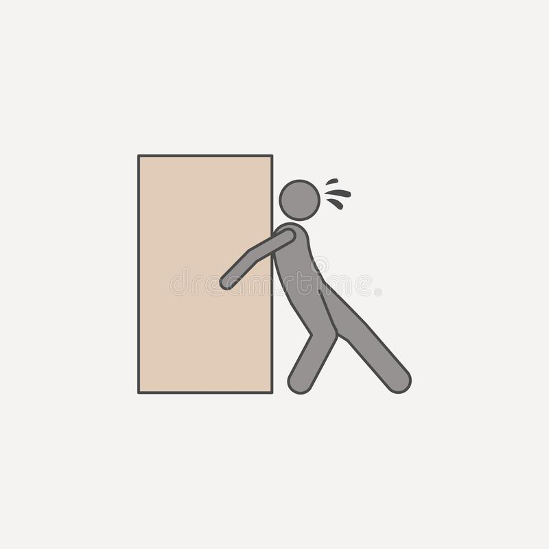 Person assiduously pushes box 2 colored line icon. Simple colored element illustration. person assiduously pushes box outline symb. Ol design from carrying and vector illustration
