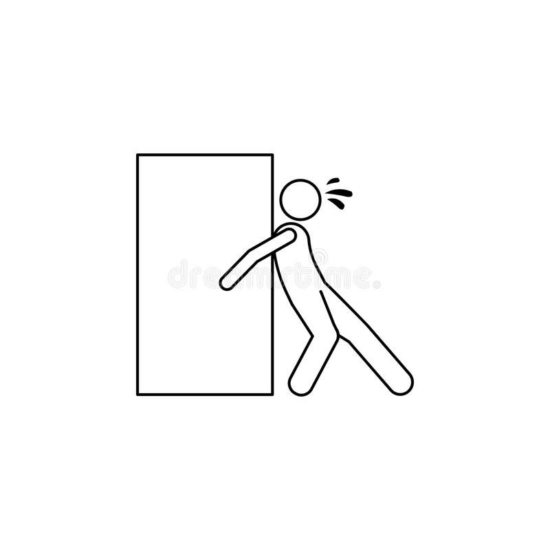 The person assiduously pushes the box icon. Element of man carries a box illustration. Premium quality graphic design icon. Signs. And symbols collection icon vector illustration