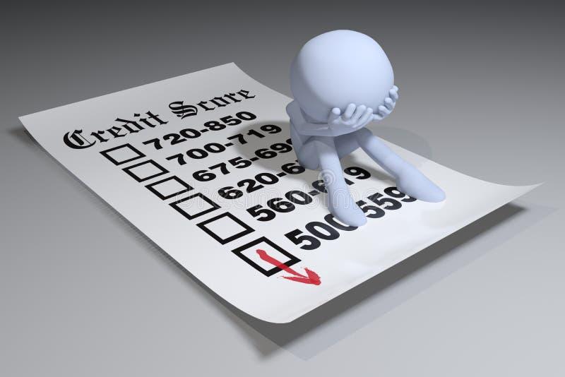 Person bad credit bureau score report vector illustration