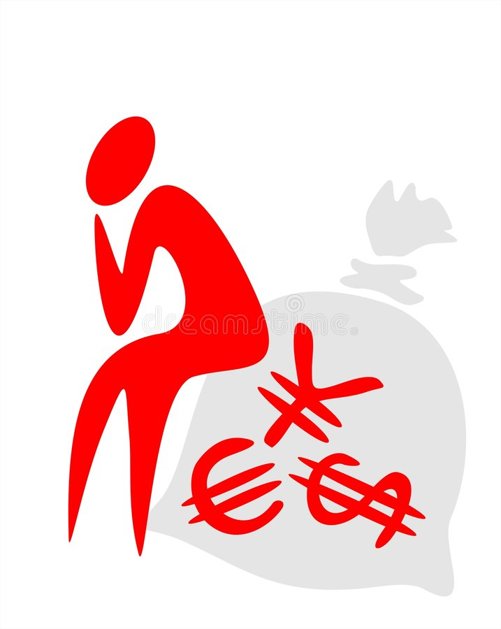 Person And Bag With Money Royalty Free Stock Image