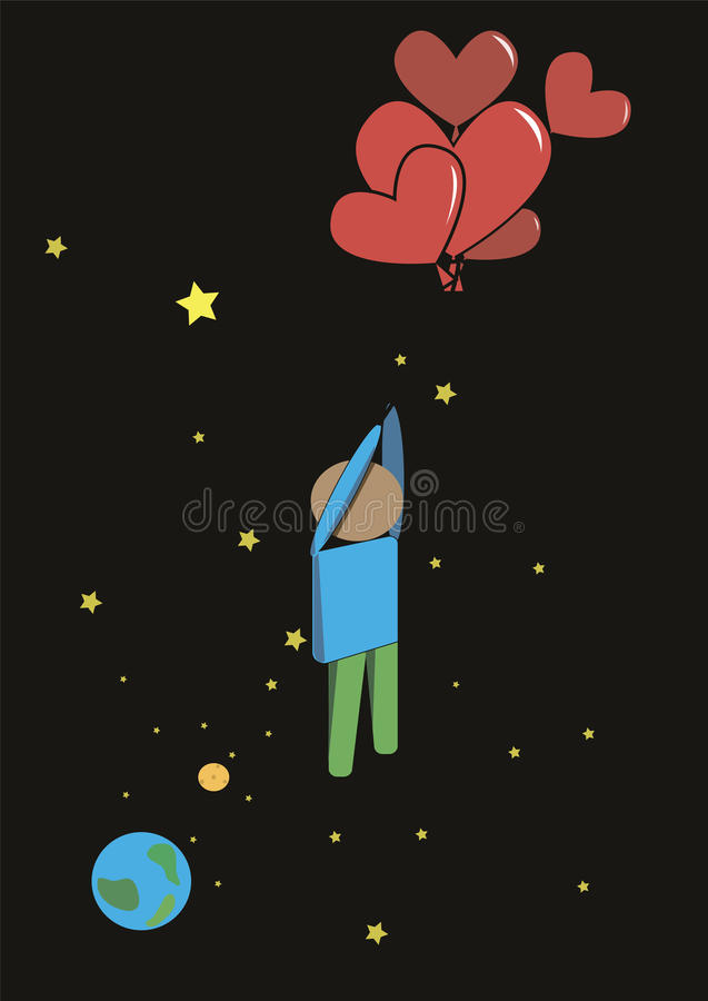 The person by balloons stock image