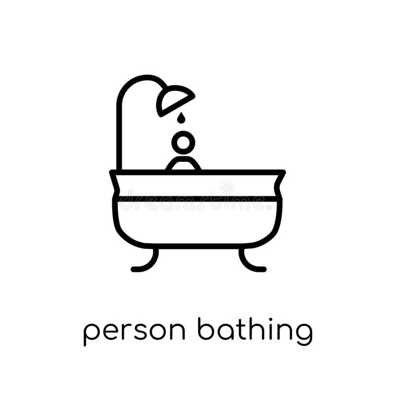 Person Bathing icon. Trendy modern flat linear vector Person Bat stock illustration