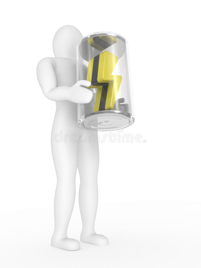 Download The Person With A Battery In Hands Stock Illustration - Illustration of pressure, alkaline: 13133010