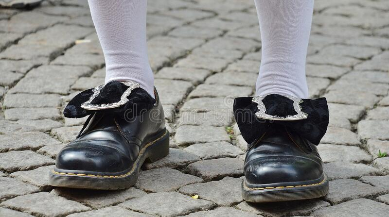 Person in Black Leather Shoes royalty free stock photo