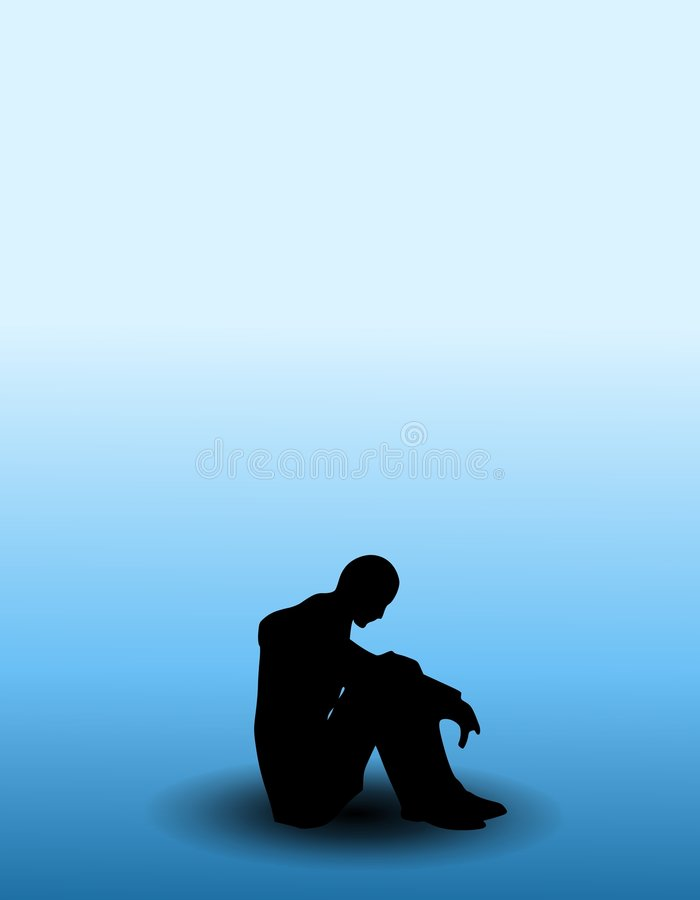 Person With The Blues. An illustration featuring a solitary individual sitting curled up on a floor with gradient blue background to represent having 'the blues