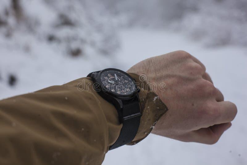 Person in Brown Long-Ärmeln Top Wearing Chronograph Watch lizenzfreie stockbilder