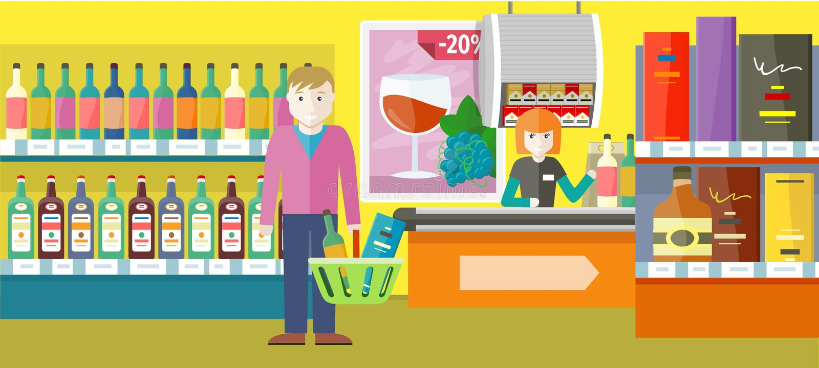 Person Buys Alcoholic Drinks in Elite Wine Shop. stock illustration