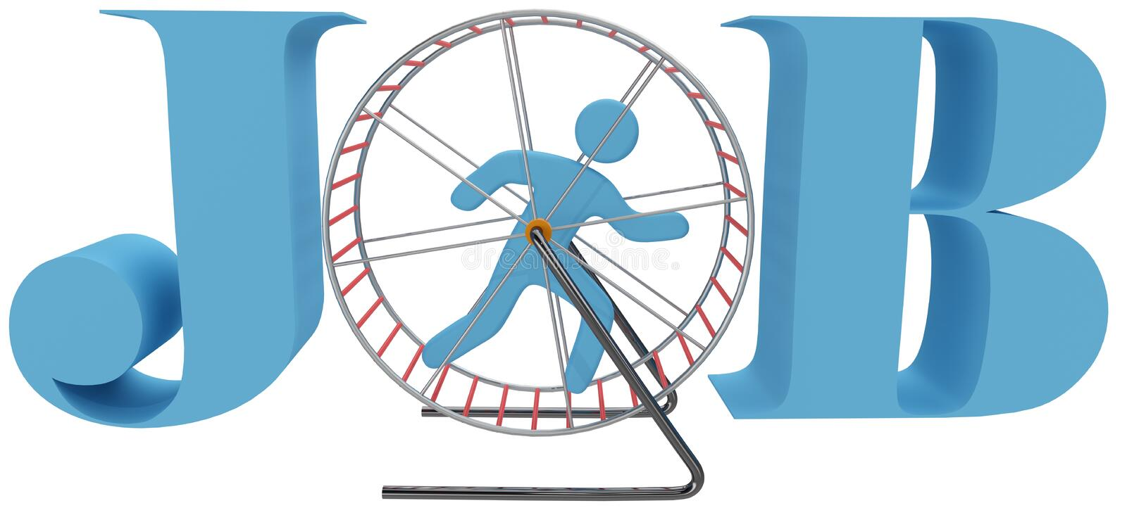 Person cage wheel rat race job. Person gets nowhere in rat race dead end job as hamster or mouse cage wheel treadmill vector illustration