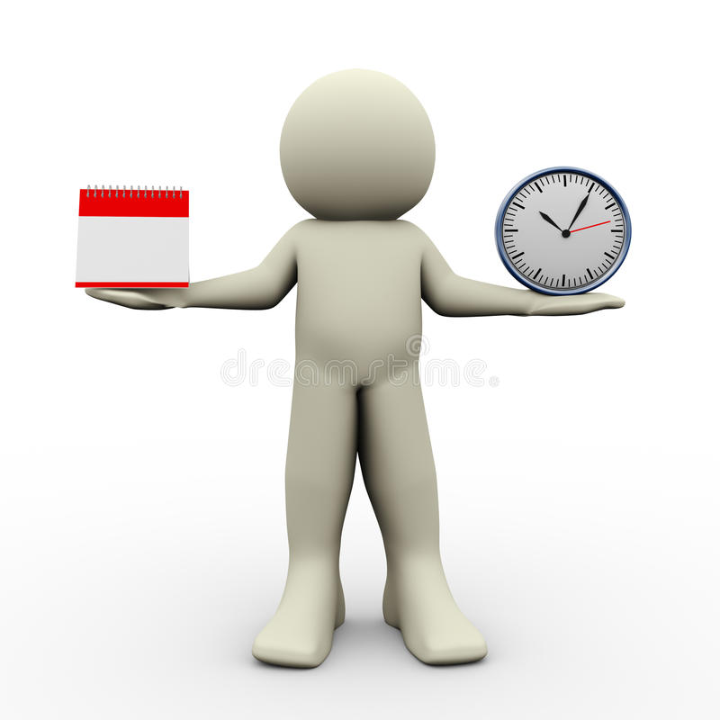Person with calender and clock royalty free illustration