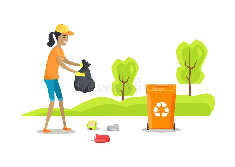 Person Caring Nature Cleaning Vector-Illustratie vector illustratie