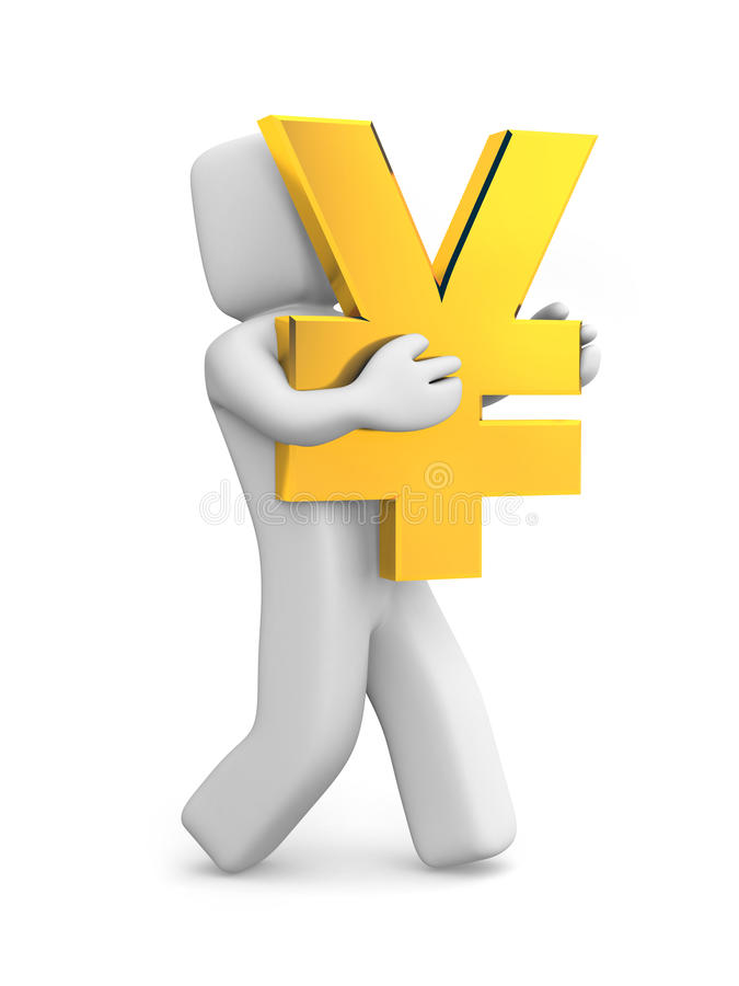 Person Carry Gold Yen Symbol Stock Illustration Illustration Of