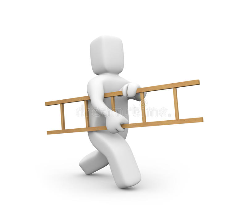Person Carry Ladder Stock Photo