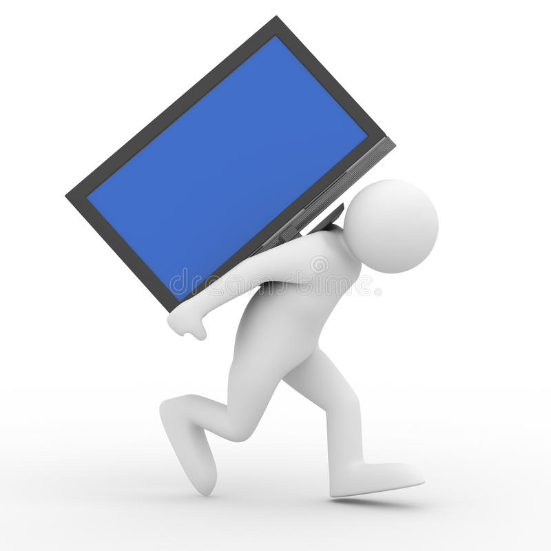 Download Person carry  TV on back stock illustration. Image of activity - 11859900