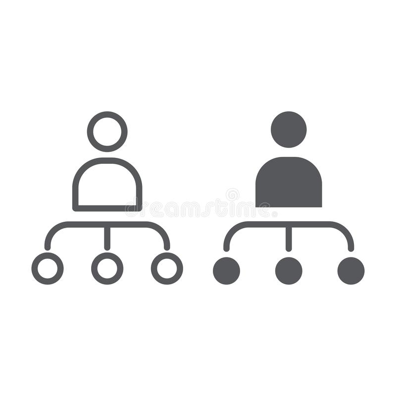 Person and chart line and glyph icon, worker and diagram, structure sign, vector graphics, a linear pattern on a white. Background, eps 10 stock illustration