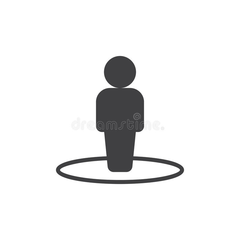 Person in circle icon vector. Filled flat sign, solid pictogram isolated on white. Street view symbol, logo illustration. Pixel perfect vector graphics stock illustration