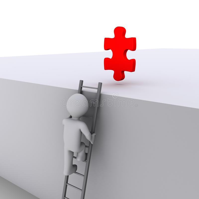 Download Person Climbing Ladder For Solution Stock Illustration - Image: 24281910