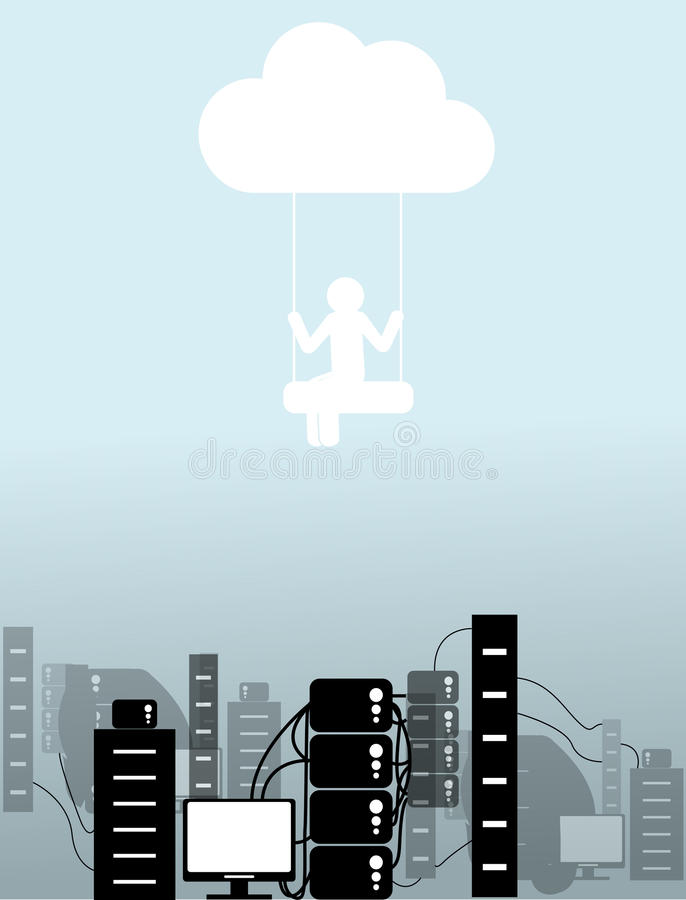 Download The person on a cloud stock vector. Illustration of computer - 32657869