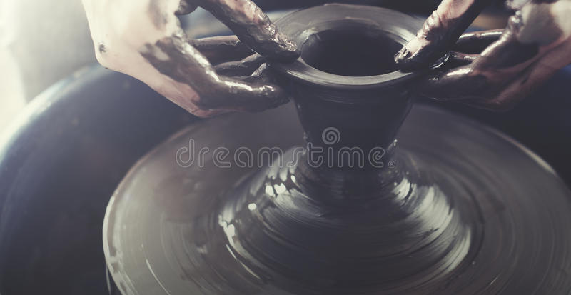 Person Creation Pottery Handcraft Art Mud Concept stock photo