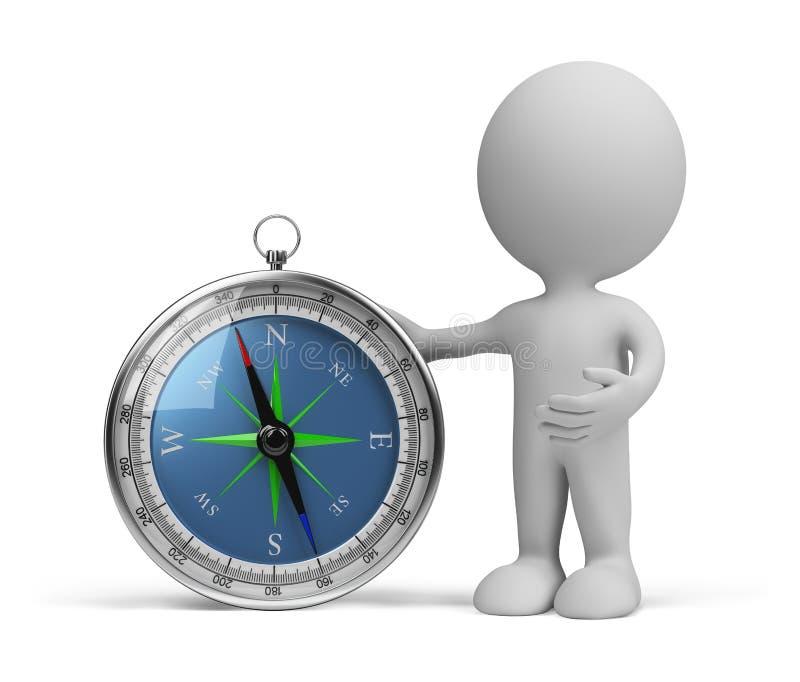 Person 3d mit Kompass lizenzfreie abbildung