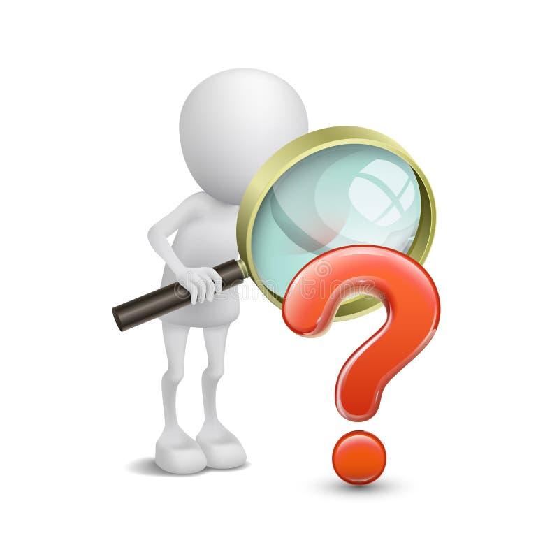 Person 3d mit Lupe und Fragezeichen stock abbildung