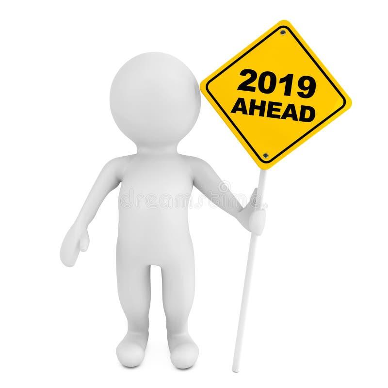 Person 3d mit 2019 voran Verkehrszeichen Wiedergabe 3d stock abbildung