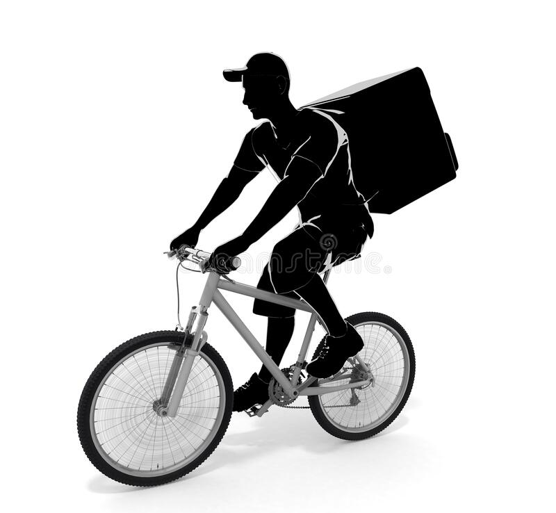 A person delivering by bicycle. A man delivering food. 3D illustration royalty free illustration