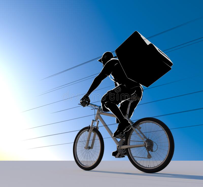 The person delivering the food. A man delivering by bicycle. 3D illustration vector illustration