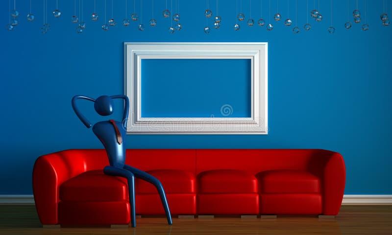 Person, die auf dem roten Sofa in minimalem sich entspannt lizenzfreie abbildung