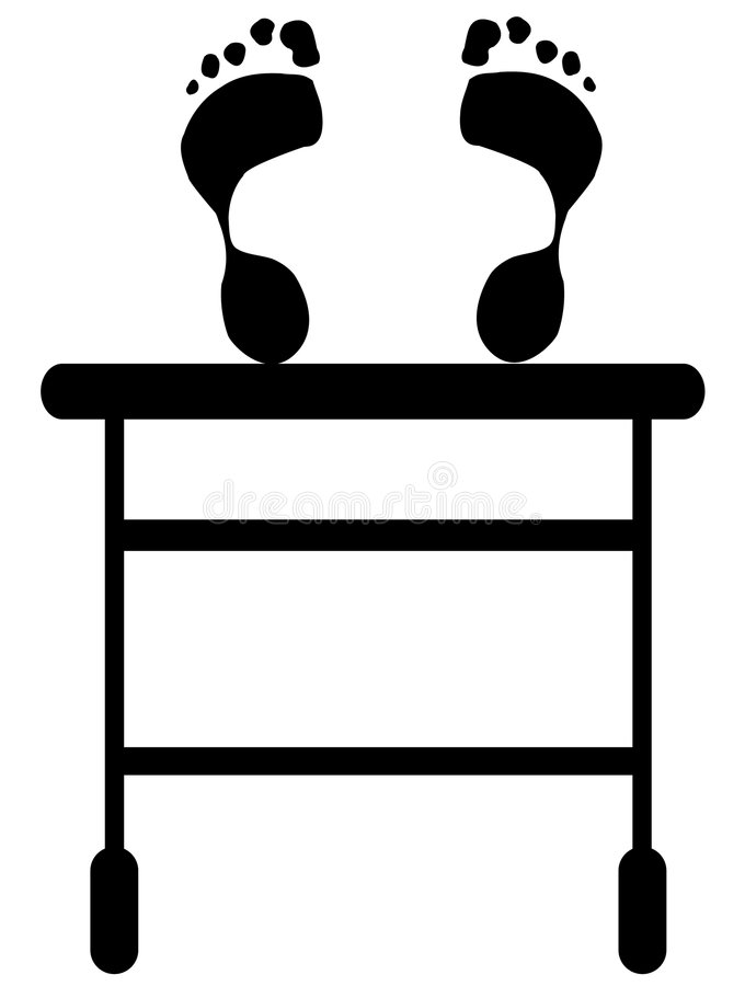 Person, die auf einer Rollbahre liegt lizenzfreie abbildung