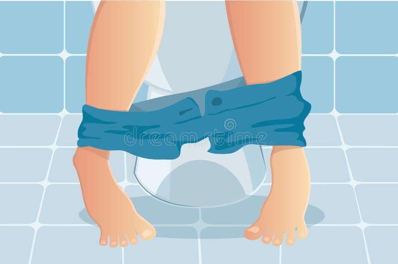 Person, die auf Toilette mit dem Leiden unter verstopfter oder Diarrhöevektorillustration sitzt vektor abbildung