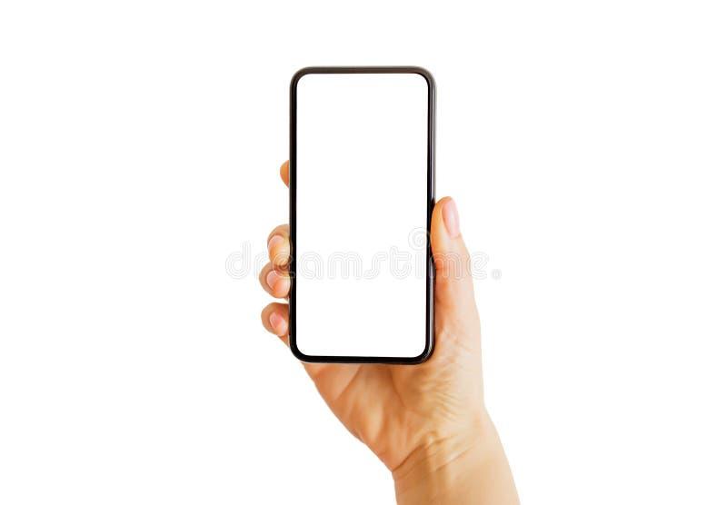 Person, die in der Hand Smartphone hält Bewegliches APP-Modell stockbild