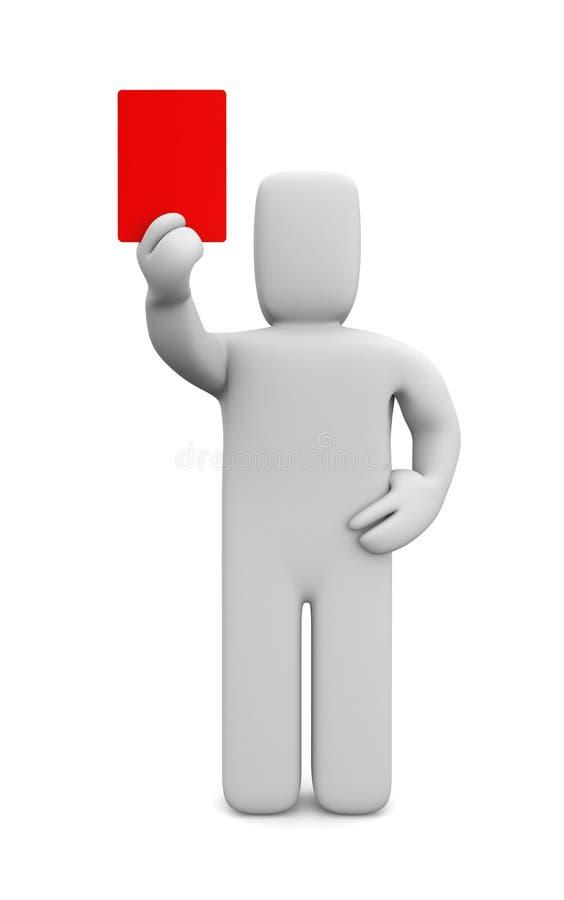 Person, die eine rote Karte zeigt stock abbildung