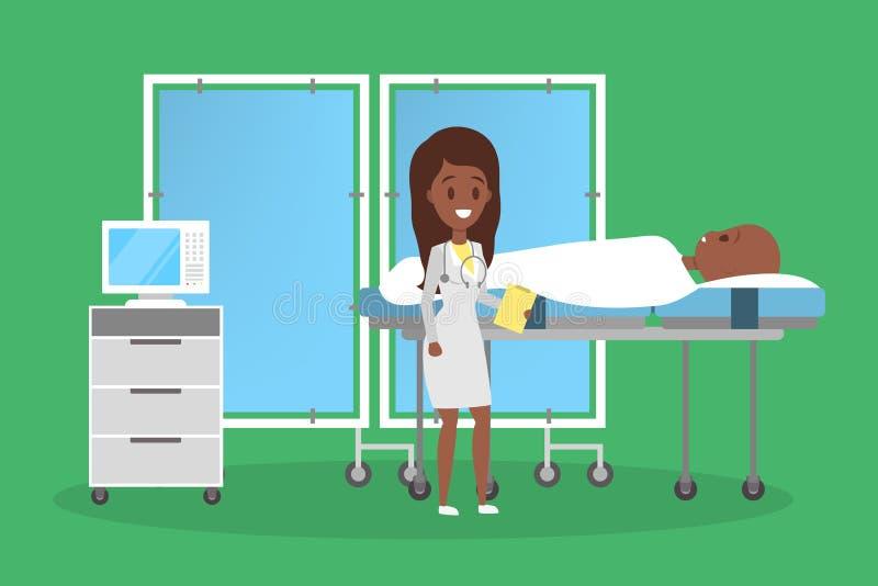 Person, die in einem Krankenhausbett liegt Patient nach der Chirurgie vektor abbildung