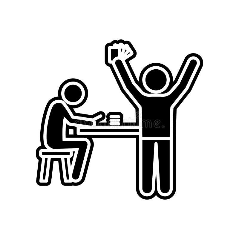 Person, die einen Preis in einer Kasinoikone gewinnt Element des Kasinos f?r bewegliches Konzept und Netz Appsikone Glyph, flache stock abbildung