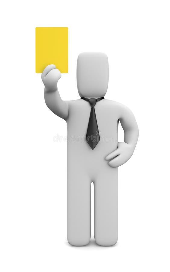 Person, die gelbe Karte zeigt lizenzfreie abbildung