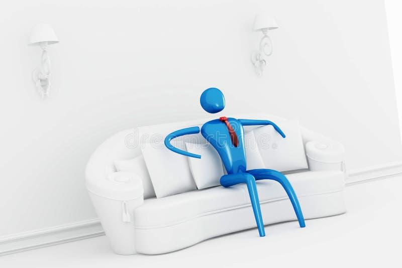 Person, die im freien Innenraum sich entspannt stock abbildung