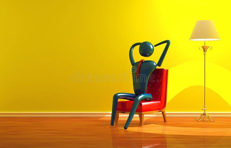Person, die im gelben Innenraum sich entspannt lizenzfreie abbildung