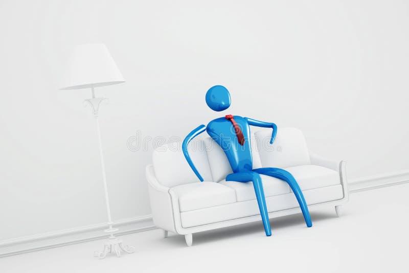 Person, die im weißen Innenraum sich entspannt vektor abbildung