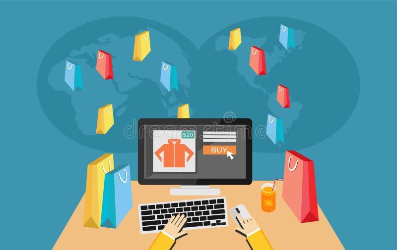 Person, die an Laptop-Computer Einkaufen auf E-Commerce-Speicher arbeitet vektor abbildung