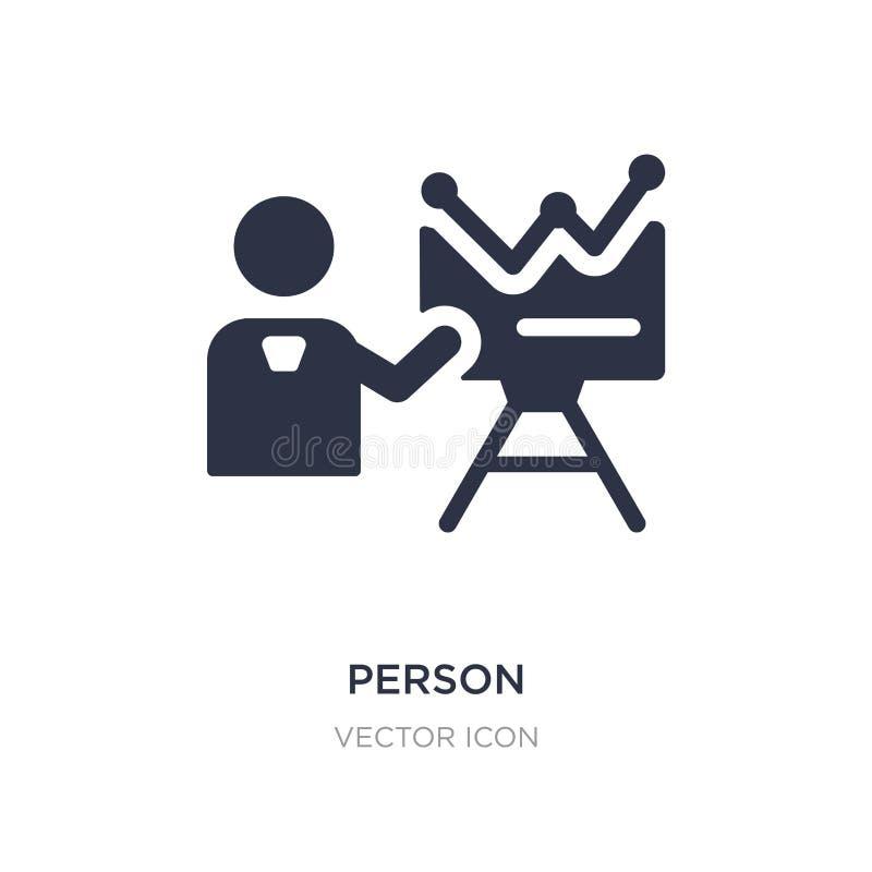 Person, die Strategieikone auf weißem Hintergrund erklärt Einfache Elementillustration vom Geschäfts- und Analyticskonzept stock abbildung