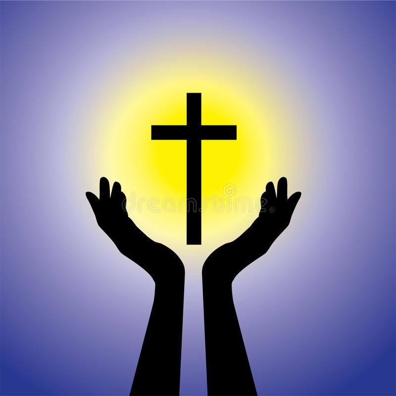 Person, die zum Kruzifix oder zu Jesus-Grafik betet oder anbetet lizenzfreie abbildung