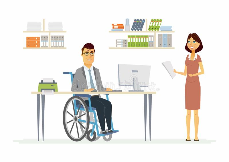 Person with disabilities at work - modern cartoon people characters illustration. With a handicapped man in wheelchair and smiling woman in a comfortable office stock illustration