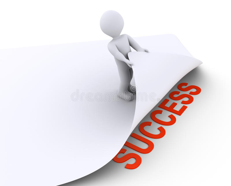 Download Person Discovers The Success Under A Paper Stock Illustration - Image: 34046905